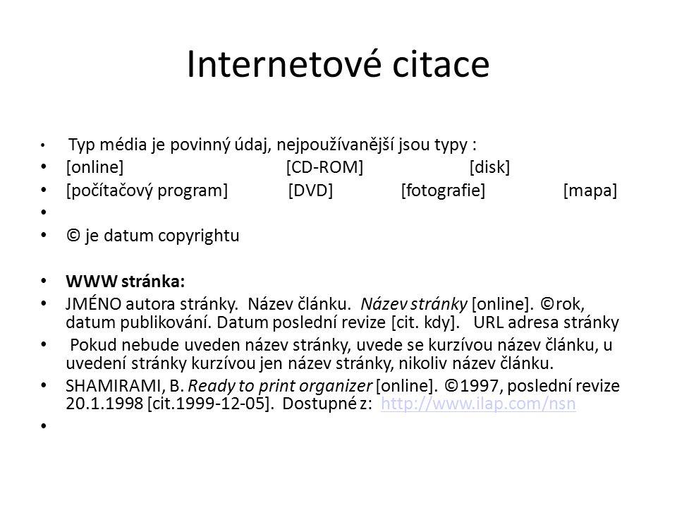 Internetové citace [online] [CD-ROM] [disk]